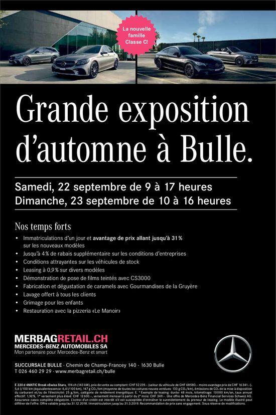Grande exposition d'automne, 22 et 23 septembre, Mercedes-Benz automobiles, Bulle