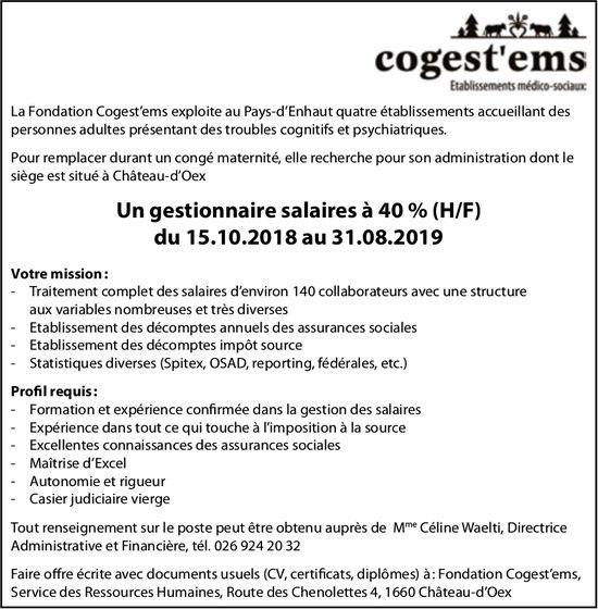 Un gestionnaire salaires à 40 % (H/F)  du 15.10.2018 au 31.08 2019, Cogest'ems, Châteu-d'Oex