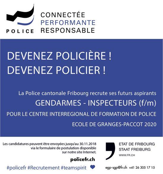 GENDARMES - INSPECTEURS (f/m), Police cantonale Fribourg, recherché