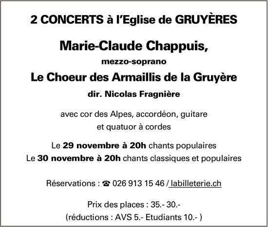 2 CONCERTS, 29 et 30 novembre, Église de Gruyère