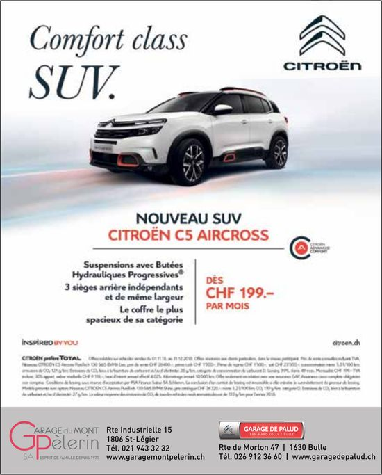 Garage du Mont Pèlerin, Bulle, Nouveau SUV Citroën C5 Aircross dès CHF 199.-