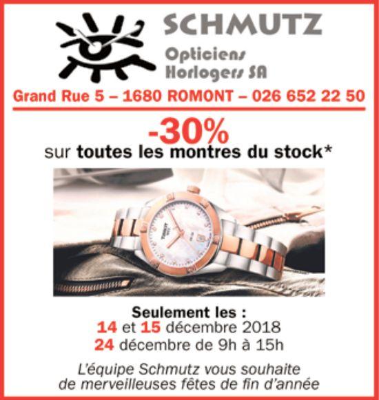 SCHMUTZ Opticiens Horlogers SA, Romont, -30% sur toutes les montres du stock