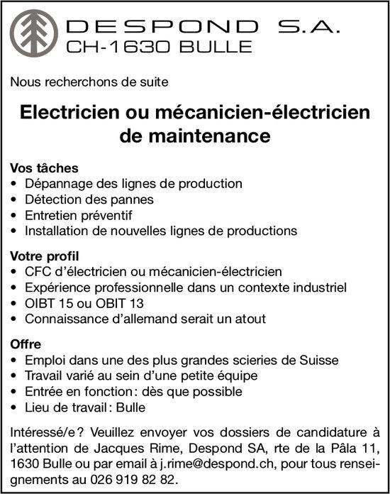 Électricien ou mécanicien-électricien de maintenance, Despond SA, Bulle, recherché