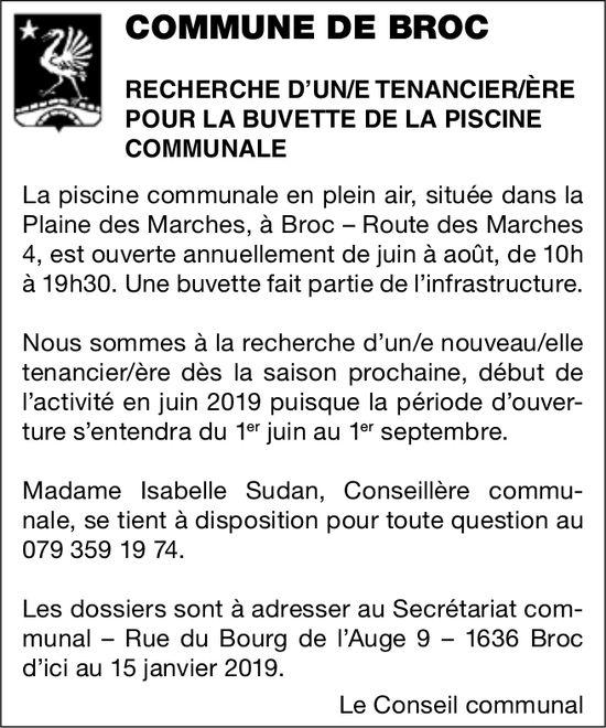 RECHERCHE D'UN/E TENANCIER/ÈRE POUR LA BUVETTE DE LA PISCINE COMMUNALE, COMMUNE DE BROC, RECHERCHÉ