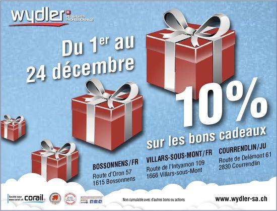 Wydler - 10% sur les bons cadeaux du 1er au 24 décembre