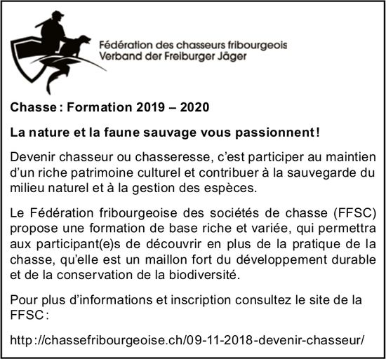 Fédération des chasseurs fribourgeois - Chasse : Formation 2019 – 2020