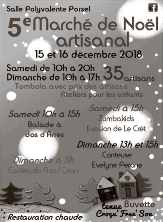5 ième Marché de Noël artisanal, 15 et 16 décembre, Salle Polyvalente, Porsel