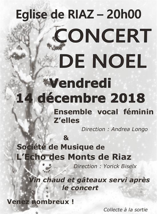 C0NCERT DE NOEL, 14 décembre, Église de Riaz