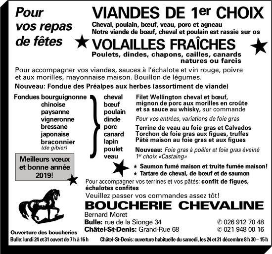 BOUCHERIE CHEVALINE, BULLE-CHÂTEL-ST-DENIS, VIANDE DE 1er CHOIX