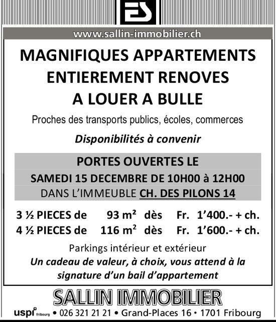 MAGNIFIQUESAPPARTEMENTS 3.5 ET 4.5 PIÈCES, BULLE, À LOUER