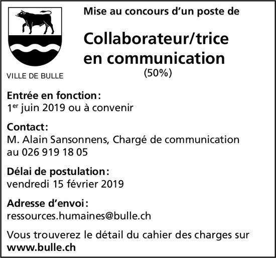 Collaborateur/trice en communication (50%), Ville de Bulle, recherché/e