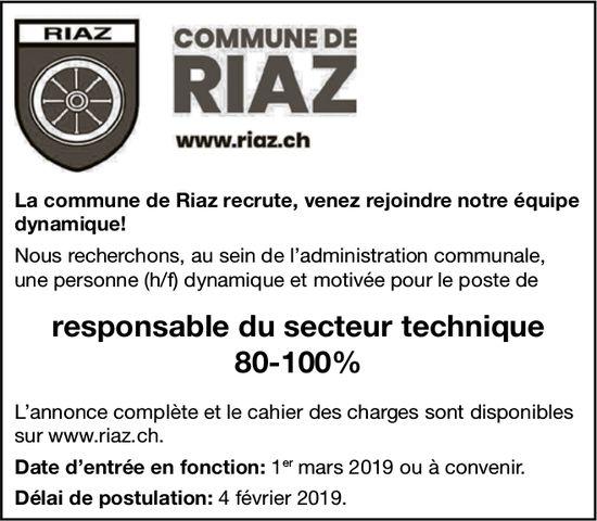 Responsable du secteur technique 80-100%, Commune de Riaz, recherché/e