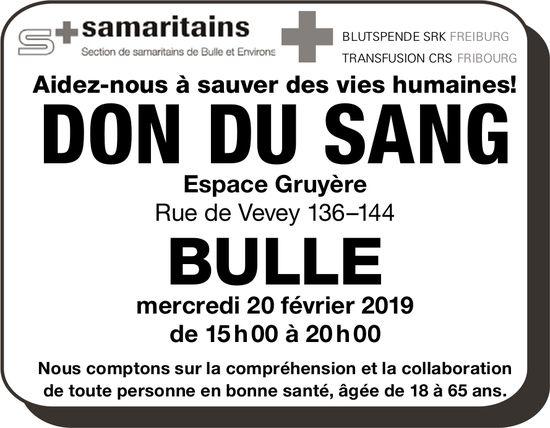 DON DU SANG, 20 février, Espace Gruyère, Bulle