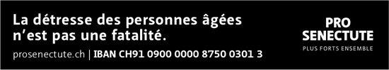 PRO SENECTUTE - La détresse des personnes âgées n'est pas une fatalité.