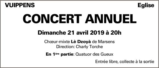 Concert annuel, 21 avril, Église, Vuippens