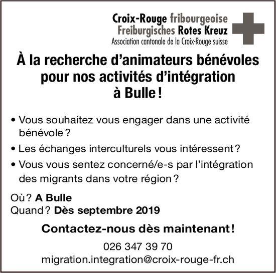 À la recherche d'animateurs bénévoles, Croix-Rouge, Fribourg