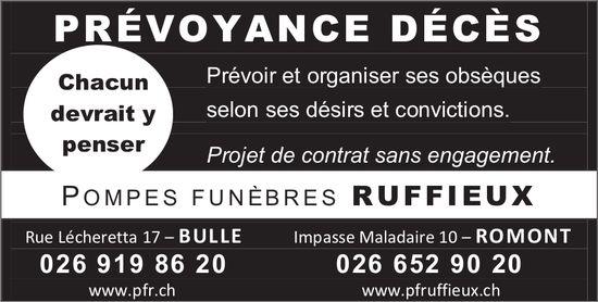 POMPES FUNÈBRES RUFFIEUX, BULLE, PRÉVOYANCE DÉCÈS