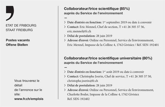 Collaborateur/trice scientifique (85%), Service de l'environnement, État de Fribourg, recherché