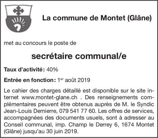 Secrétaire communal/e   40%, La Commune de Montet (Glâne), recherché