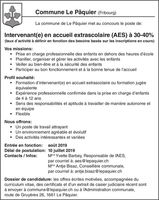 Intervenant(e) en accueil extrascolaire (AES) à 30-40%, Commune le Pâquier, recherché