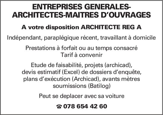 ARCHITECTE REG A -  ENTREPRISES GÉNÉRALES- ARCHITECTES-MAÎTRES D'OUVRAGES