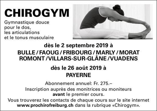 CHIROGYM, BULLE, Gymnastic douce pour le dos - Abonnement annuel: Fr.272.-