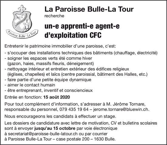 Un-e apprenti-e agent-e d'exploitation CFC, La Paroisse Bulle-La Tour, recherché