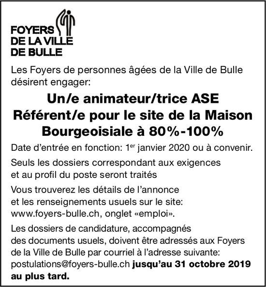 Un/e animateur/trice ASE Référent/e 80%-100%,  Maison Bourgeoisiale, Bulle, recherché