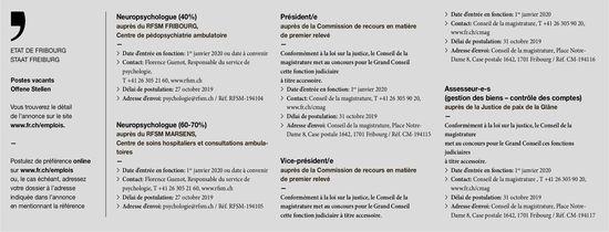 Neuropsychologue (40%) auprès du RFSM Fribourg, recherché