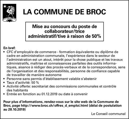 Mise au concours du poste de collaborateur/trice administratif/tive à raison de 50%, Commune de Broc