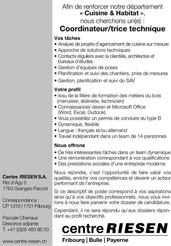 Coordinateur/trice technique, Centre Riesen SA, Granges-Paccot, recherché