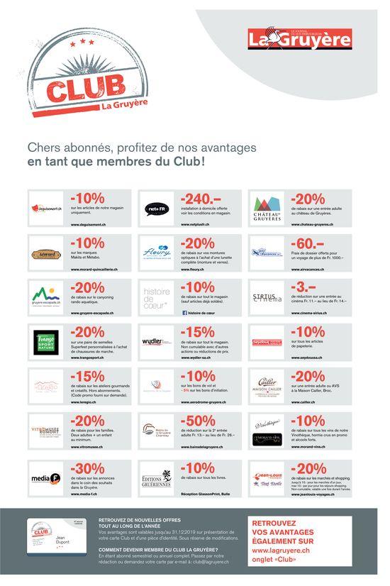 CLUB La Gruyère - Chers abonnés, profitez de nos avantages en tant que membres du Club!