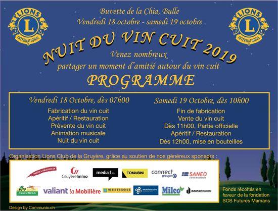NUIT DU VIN CUIT 2019, 18 octobre, Buvette de la Chia, Bulle
