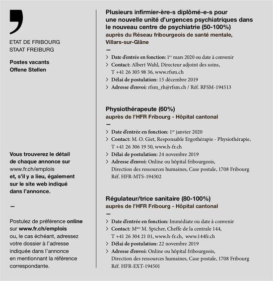 Infirmier-ère-s diplômé-e-s centre de psychiatrie (50-100%), Villars-sur-Glâne, recherché