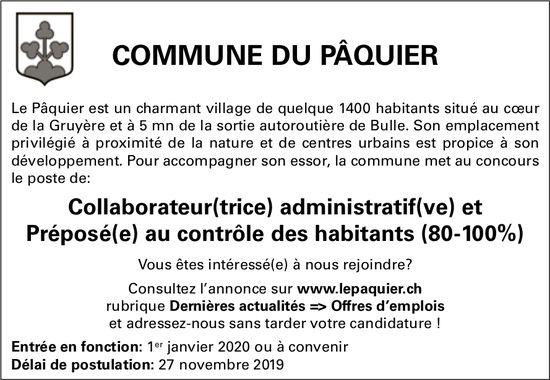 Collaborateur(trice) administratif(ve) et Préposé(e) au contrôle des habitants, Commune du Pâquier