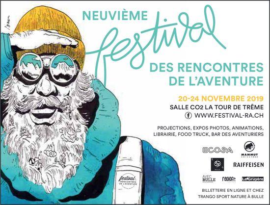 NEUVIÈME FESTIVAL DES RENCONTRES DE L'AVENTURE, 20-24 NOVEMBRE, SALLE CO2, LA TOUR-DE- TRÊME