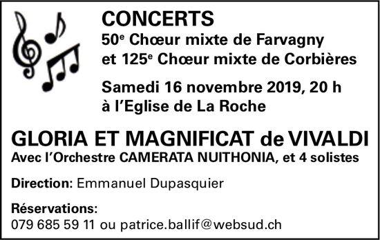 CONCERTS 50e Chœur mixte de Farvagny, 16 novembre, Eglise, La Roche