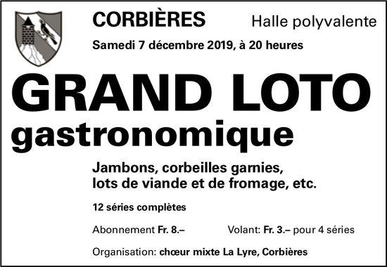 GRAND LOTO GASTRONOMIQUE, 7 décembre, Halle polyvalente, Corbières