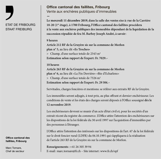 Office cantonal des faillites, Fribourg, Vente aux enchères publiques