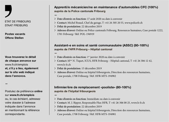 Apprenti/e mécanicien/ne (100%), Police cantonale Fribourg, recherché/e