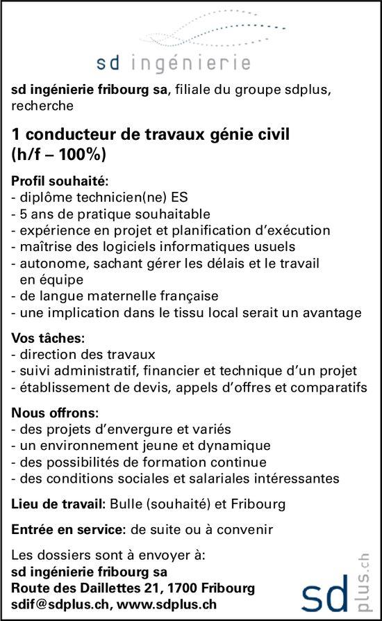 1 conducteur de travaux génie civil (h/f – 100%), Sd ingénierie SA, Bulle, recherché