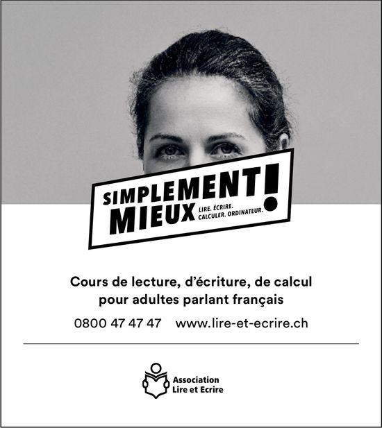 Association Lire et Ecrire - Cours de lecture, d'écriture, de calcul pour adultes parlant français