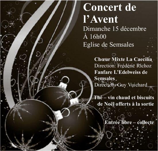 Concert de l'Avent, 15 décembre, Eglise de Semsales