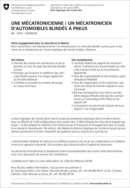 UNE MÉCATRONICIENNE / UN MÉCATRONICIEN D'AUTOMOBILES BLINDÉS À PNEUS, Base logistique de l'armée BLA