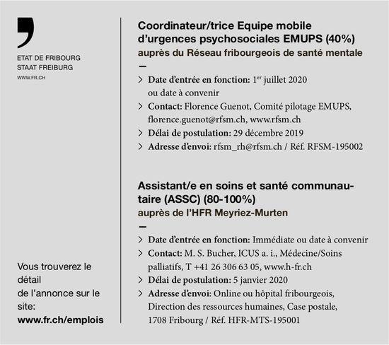 Coordinateur/trice Equipe mobile d'urgences psychosociales EMUPS (40%), Etat de Fribourg, recherché