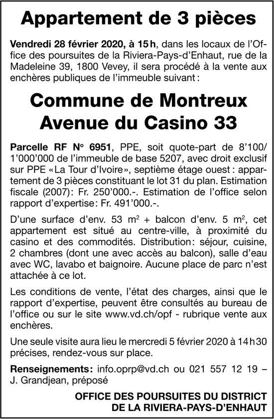 Appartement 3 pièces, Montreux, à vendre