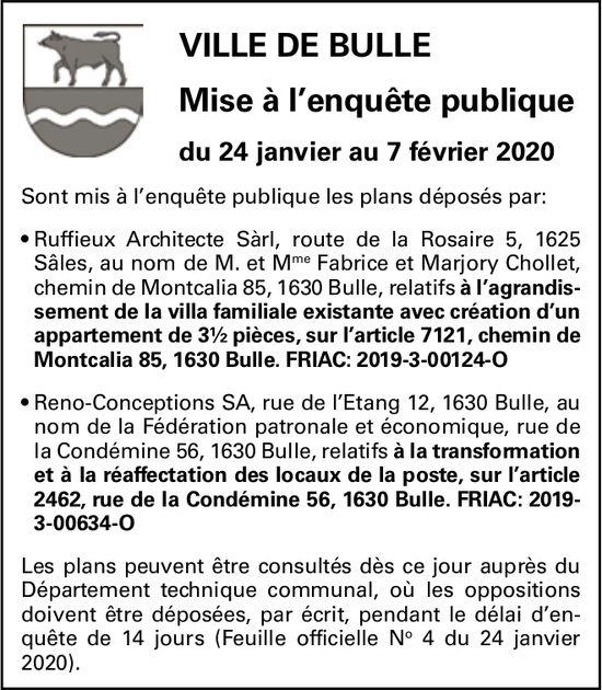 Mise à l'enquête publique du 24 janvier au 7 février 2020 - Ville de Bulle