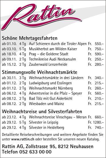 Rattin AG - Diverse Reiseangebote