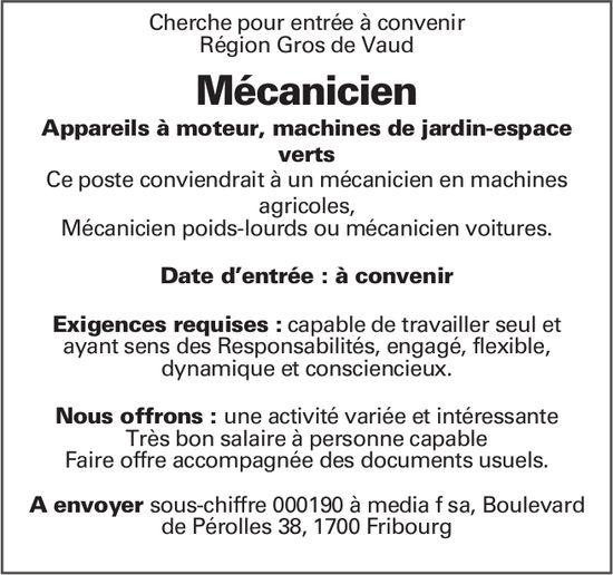 Mécanicien, Région Gros de Vaud, recherché