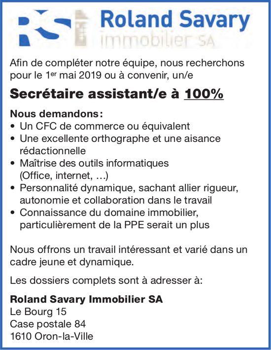 Secrétaire assistant/e à 100%, Roland Savary immobilier SA, Le Bourg, recherché